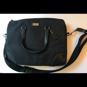 Coach Black Khaki Laptop Bag w/Leather Trim